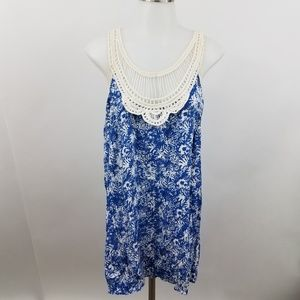 Altar'd State Tank Top S Blue Crochet White Sleeve